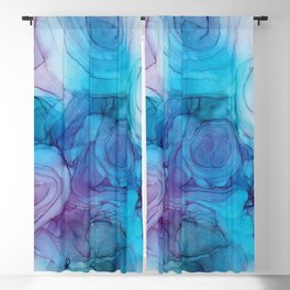 Blue & Purple Alcohol Ink Painting Blackout Curtain
