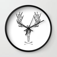 moose Wall Clocks featuring MOOSE by Kiley Victoria