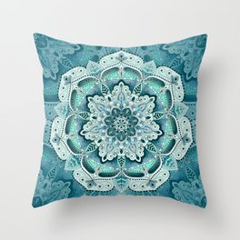 Winter blue floral mandala Throw Pillow