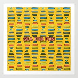 Sea for fun (yellow) Art Print