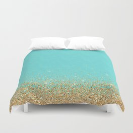 Sparkling gold glitter confetti on aqua teal damask background Duvet Cover