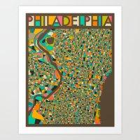 philadelphia Art Prints featuring PHILADELPHIA by Jazzberry Blue