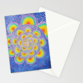 Rainbow Mandala Colorful Psychedelic Trippy Spiral Tapestry Painting Batik (Triametes Versicolor) Stationery Cards