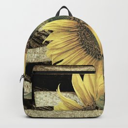 Rustic Sunflower Flower on Flag Country Art Cottage Chic A050 Backpack