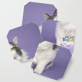 Happy Birthday Fat Cat In Party Hat With Cake Coaster