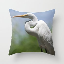 Great Egret Three - Utah Throw Pillow