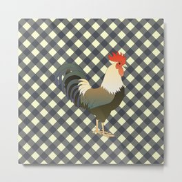 ROOSTER ON CHARCOAL Metal Print