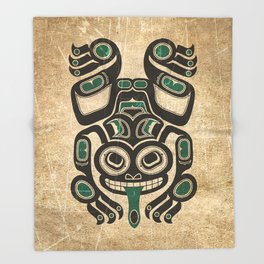 Teal Blue and Black Haida Spirit Tree Frog Throw Blanket