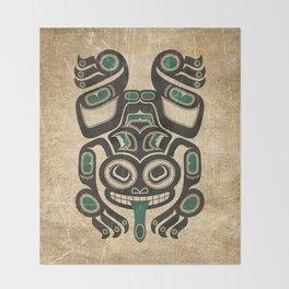 Teal Blue and Black Haida Spirit Tree Frog Throw Blanket