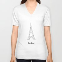 bonjour V-neck T-shirts featuring Bonjour by Kimberly Jones