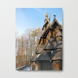 Fantoft Stave Church Metal Print