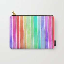 Bright Rainbow Colored Watercolor Paint Stripes Carry-All Pouch