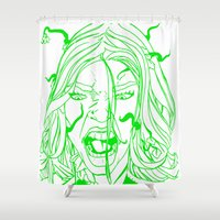 poison ivy Shower Curtains featuring New 52 Poison Ivy by Jeremy Gonzalez