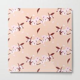 sakura flowers on peach background Metal Print