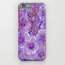 Hollyhock Mallows, Summer Flowers, Floral Collage Violet  iPhone Case
