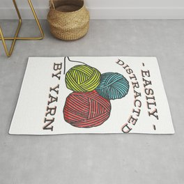 Easily Distracted By Yarn - Gift for Knitters and Crocheters Premium T-Shirt Rug
