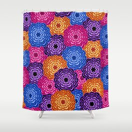 Dahlia Rainbow Multicolored Floral Abstract Pattern Shower Curtain
