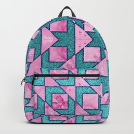 Beautiful Cyan and Pink Geometric Pattern Backpack