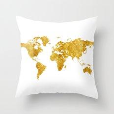 Gold Map Throw Pillow