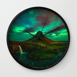 Lights over Kirkjufell Wall Clock