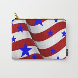 PATRIOTIC JULY 4TH BLUE STARS DECORATIVE ART Carry-All Pouch