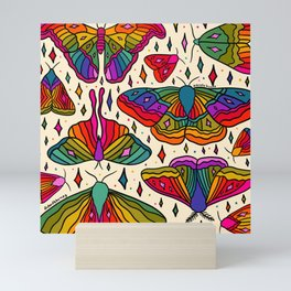 Rainbow Moth Print Mini Art Print
