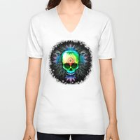 marijuana V-neck T-shirts featuring Marijuana Psychedelic Skull by BluedarkArt