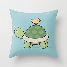 Kawaii Cute Tortoise And Bird Throw Pillow