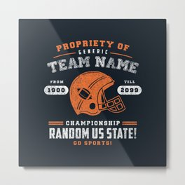 Generic Football T-Shirt Metal Print
