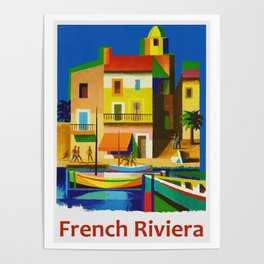 Vintage French Riviera Travel Ad Poster