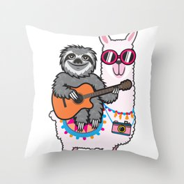 Sloth Llama Guitar Throw Pillow