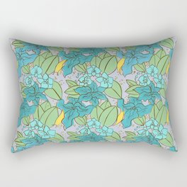 Blue Lilies and Orchids Rectangular Pillow