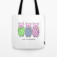 blankets Tote Bags featuring Pigs in Blankets by Charlotte Lucy
