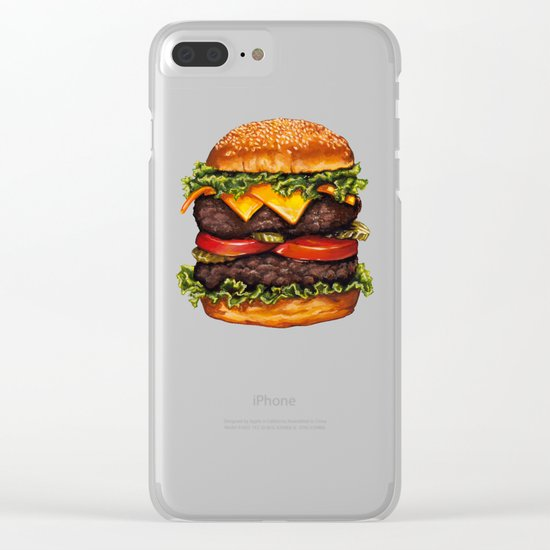 Double Cheeseburger Pattern Clear iPhone Case