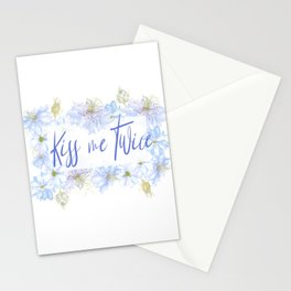 Nigella Flower Kiss Me Twice Watercolor Art Stationery Cards
