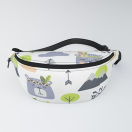 Cute Mountains Bears and Trees Happy Campers Children Pattern Fanny Pack