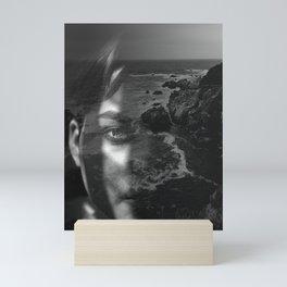 Portrait rock black white Mini Art Print