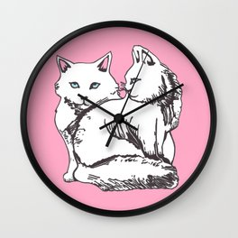 White Maine Coons Cats Wall Clock