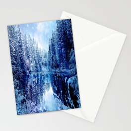 Blue Winter Wonderland : Forest Mirror Lake Stationery Cards