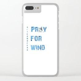 Kiteboarding Humor Kneeling Skeleton Praying For Wind Clear iPhone Case
