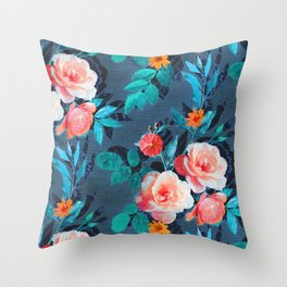 Retro Rose Chintz in Radiant Coral on Blue Throw Pillow