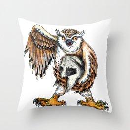 Owl Holding Spartan Helmet Tattoo Throw Pillow