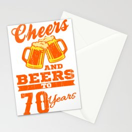 Cheers And Beers To 70th Birthday Gift Idea Stationery Cards