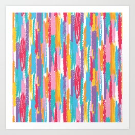 Colorful crayons brushstrokes pattern Art Print