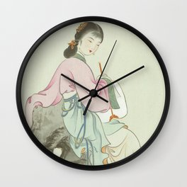 Chinese Painting and Calligraphy Print, Twelve Beauties of Jinling of Famous Literary Wall Clock