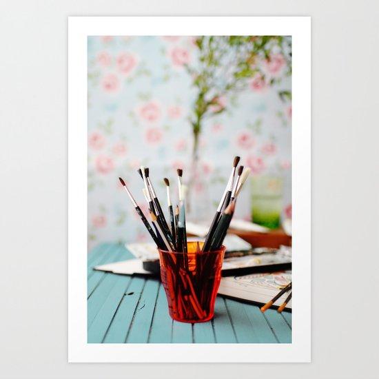 Brushes. Art Print