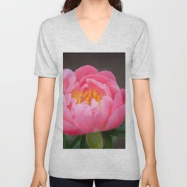 Coral Peony by Teresa Thompson Unisex V-Neck