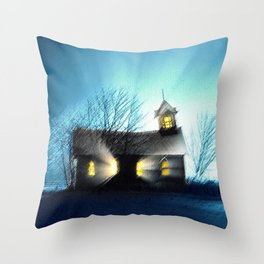 Abandoned Church within the Scituate Reservoir - Scituate, Rhode Island Landscape by Jeanpaul Ferro Throw Pillow