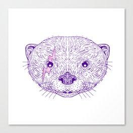 Otter Head Lightning Bolt Drawing Canvas Print