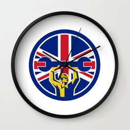 British Mechanic Union Jack Flag Icon Wall Clock